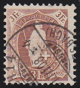 1907-3Fr-Stehende-Helvetia-Faserpapier